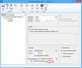 Attaching Word Template Edit Lists for Batch-Related Workflows in Microsoft Dynamics GP 2016