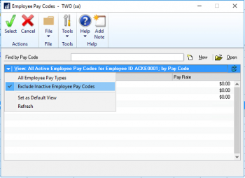Removing Inactive Pay Codes From Payroll Transaction Entry in Microsoft Dynamics GP 2016