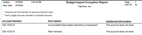 Improvements to the Budget Import Exception Report for Microsoft Dynamics GP 2016