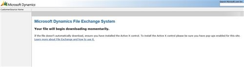"Fixing the Microsoft Dynamics File Exchange Hanging Screen: ""Your file will download momentarily"""
