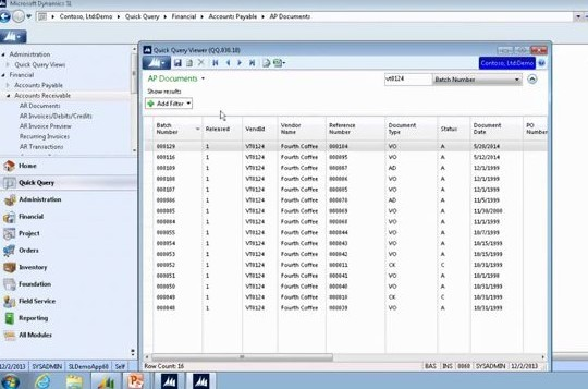 How to Use Quick Query For Accounts Receivable in Microsoft Dynamics SL