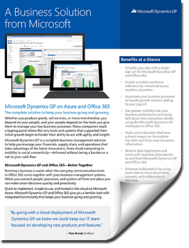 Microsoft Dynamics GP 2015 Fact Sheet